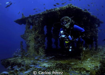 Becky exploring the Wit Shoal Wreck Tower at St.Thomas by Carlos Pérez