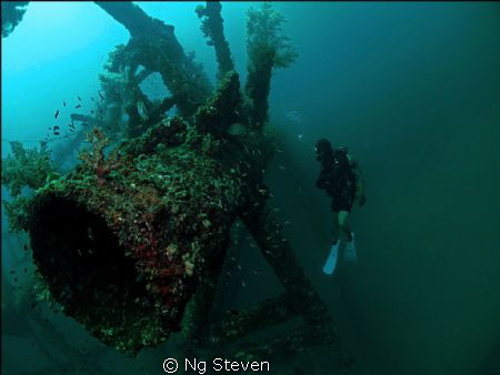 Artificial reef made from decommissioned oil rig put in a... by Ng Steven