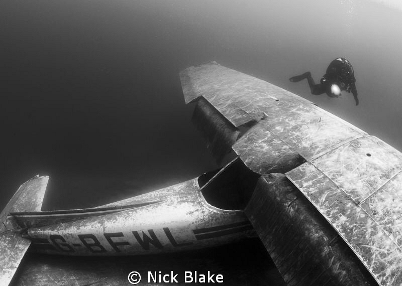 Cessna aircraft wreck and diver, Capernwray. by Nick Blake