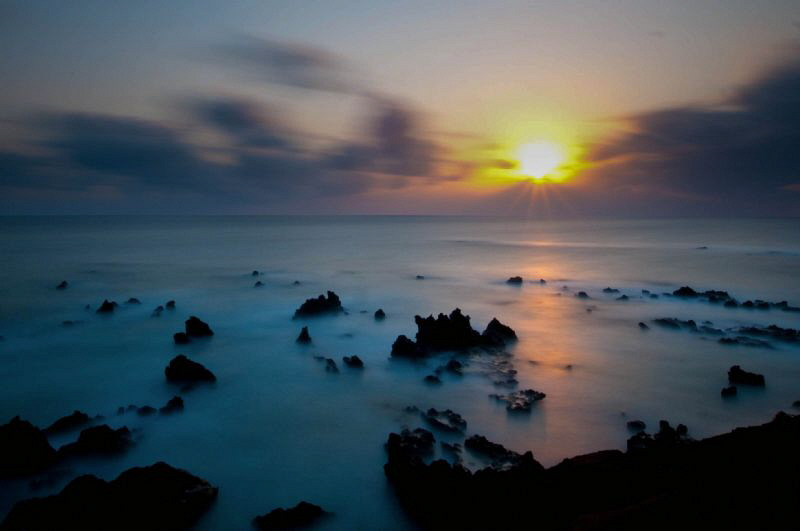 Ascension Island sunset.  2 minute exposure with 10 stop ... by Paul Colley