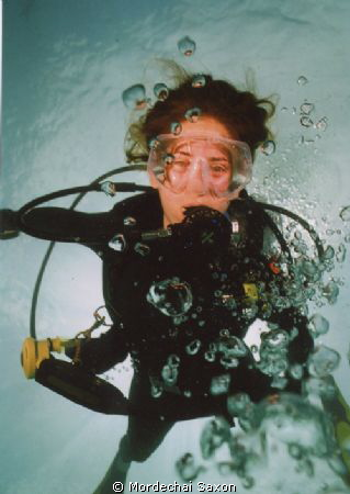 Key Largo, FL.  Bubbles in front of diver are photographe... by Mordechai Saxon