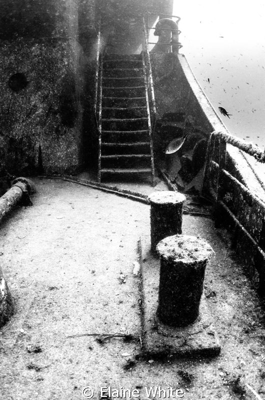 Stairway to the next deck on the UmEl Faroud. Converted ... by Elaine White