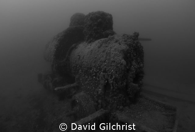 Small locomotive in Sherkston Quarry. About a century und... by David Gilchrist