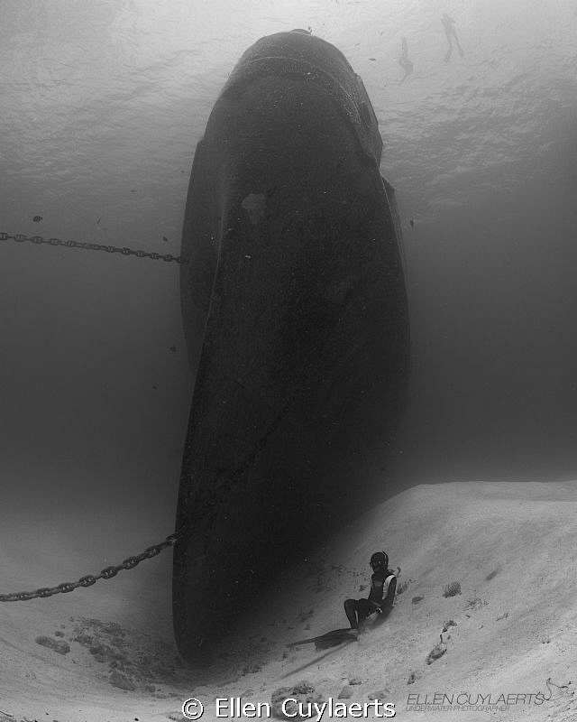 Freediver at Ex-USS Kittiwake by Ellen Cuylaerts