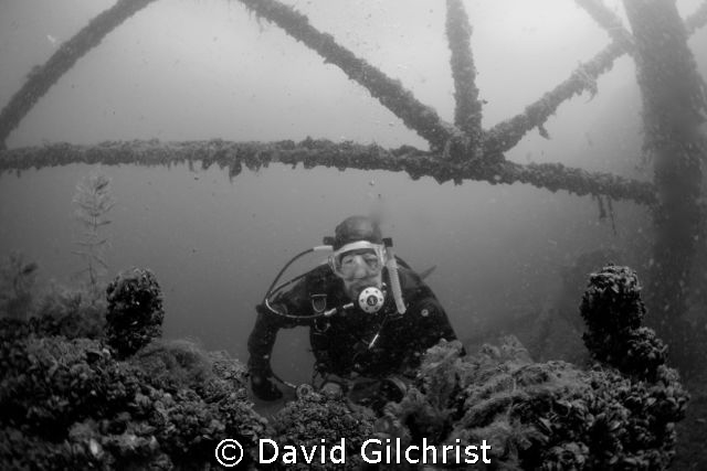 Diver in pump house at Sherkston Quarry. by David Gilchrist