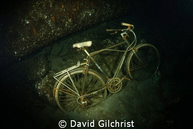 Submerged'Classic' Bicycle lying against the port side of... by David Gilchrist