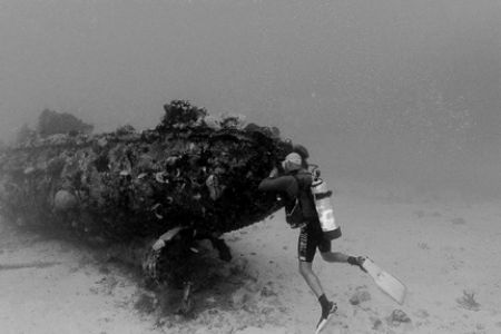 Dive Aruba's Clive Paula peeks inside a small tug wreck. ... by Matthew Shanley