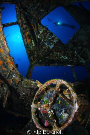 Cockpit of C-47 Dakota plane wreck in Bodrum/Turkey by Alp Baranok