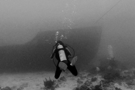 Diver approaching the bow of a wreck in Aruba. Nikonos V,... by Matthew Shanley