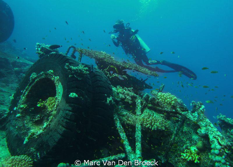 toyota wreck with Italian diver by Marc Van Den Broeck