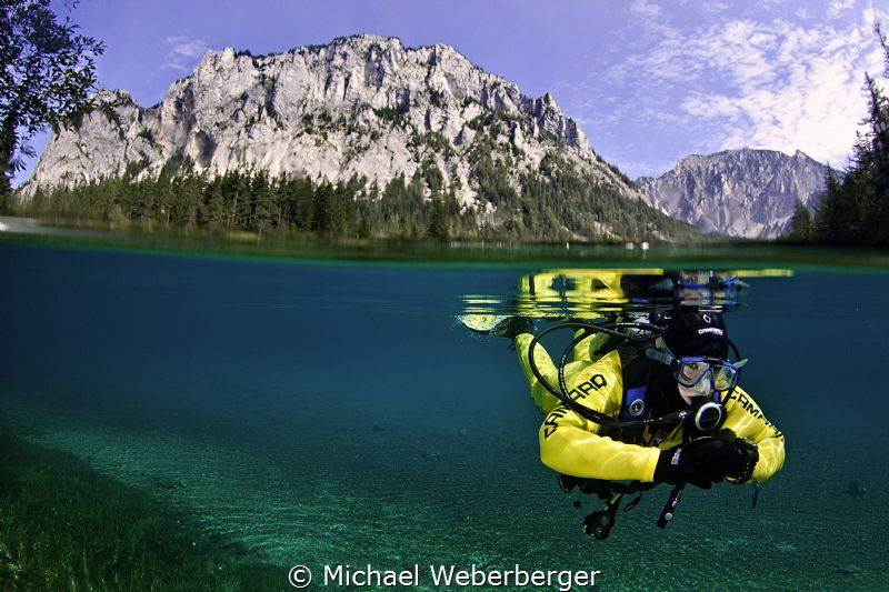 Mountain Diver at the Green Lake..... by Michael Weberberger