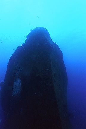The bow of the Jane C., Aruba. Nikonos V, 20mm lens, natu... by Matthew Shanley