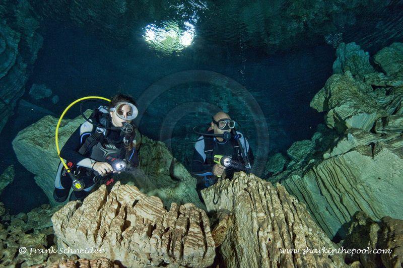 Diver in freshwater cave; Models: Zaira, Peter; Nikon D3,... by Frank Schneider