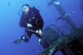 A diver on the wreck of the Rozi