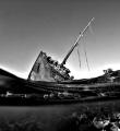 Wreck Maria Schroeder BW Nabq area Sharm El Sheikh Egypt B/W