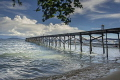 Jetty bathed early Morning Sun Raja Ampat Dive Resort