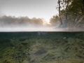 sun rise foggy lake