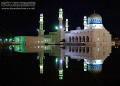 Reflections Religion Likas Bay Mosque Sabah Borneo still night. Nikon D2x 16mm lens night