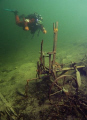 Diving moutain lake Grundlsee Austria. Austria