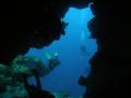 Coral swimthrough Santa Rosa Wall Cozumel Mexico. swim-through swim through Mexico