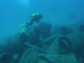 """Jumbled Wreck. Exploring concrete pipes laid aside Sea Emperor when she rolled while sinking. Deerfield Beach Florida. Olympus SP350 Ikelite housing DS51 strobe Inon WAL. Wreck"""". Wreck"""" sinking Florida DS-51 DS 51 WAL"""
