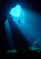 Skydiver. diver suspended clear waters Australian Sinkhole. Skydiver Sinkhole