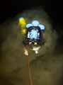 Siltout Diver emerges silt whilst surveying deep remote Kimberley Cave Western Asutralia. Depth 65m. Asutralia 65m