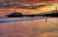 Little girl water sunset Santa Monica