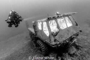 Stalwart Amphibious Vehicle, interior cab lit with extern... by Elaine White