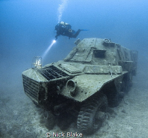 Alvis military vehicle and diver, National Dive Centre, C... by Nick Blake