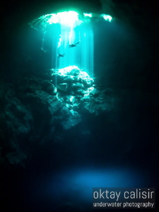 Decompressing divers after a cave dive into the 'The Pit'... by Oktay Calisir