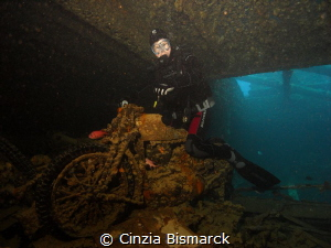 Arton on Bsa motorcycle of Thistlegorm wreck by Cinzia Bismarck