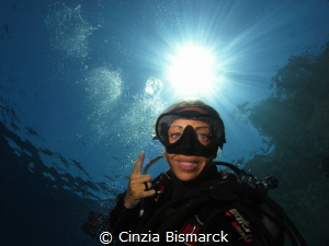 Selfie with sun and damn fogged mask by Cinzia Bismarck