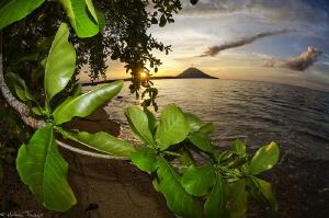 Manado-Tua volcano from Siladen island by Mathieu Foulquié