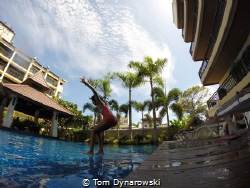 First step to diving/ my daughter just learn to swim ,and... by Tom Dynarowski