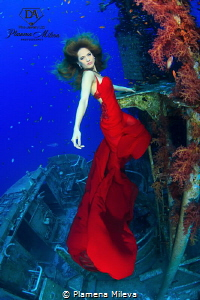 The Red Sea goddess woman by Plamena Mileva