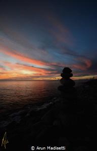 Standing stones and sunset by Arun Madisetti