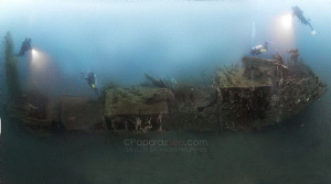 Pano stiched wreck,  a laborious process of correcting 8 ... by Jun V Lao