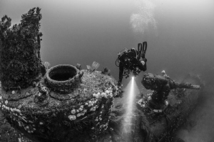 WWI submarine at 60m by Paul Colley