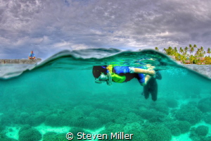 Dad is watching.. Cole's first snorkel adventure by Steven Miller