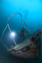 Diver with wreck,Capernwray 10.5mm. by Derek Haslam