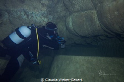 cave diving in a limestone-cave,  France - Vercors by Claudia Weber-Gebert
