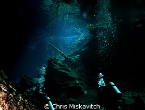 The last bit of light as divers enter the Cenote..... by Chris Miskavitch