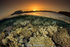 'Sunset split' Ras Katy, Egypt, Red Sea. — Subal under... by Terry Steeley