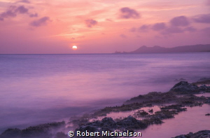 Sunset at the Jeff Davis, MD Memorial Dive Site in Bonaire by Robert Michaelson