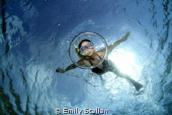Diving through air bubble by Emily Stallan