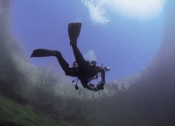 Frogman. Capernwray. 16mm. Natural light. by Mark Thomas