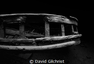Stern railing of the tug wreck 'Alice G', Tobermory,Ontario by David Gilchrist