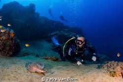 Electric stingray meets diver at Lanzarote, Canary Island- by Petra Van Borm