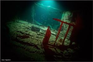 Night wreck Beacon Rock Reef. Night dive. 29 meters deep. by Dmitry Vinogradov